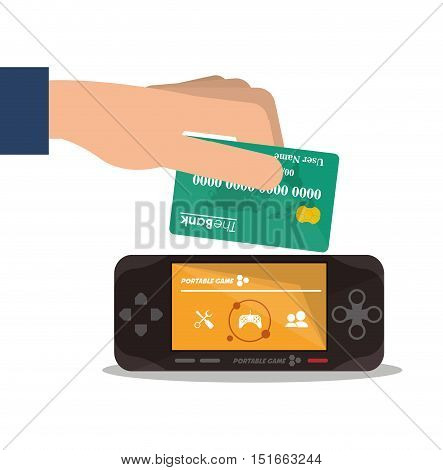 Videogame and credit card icon. Payment shopping commerce and merket theme. Colorful design. Vector illustration