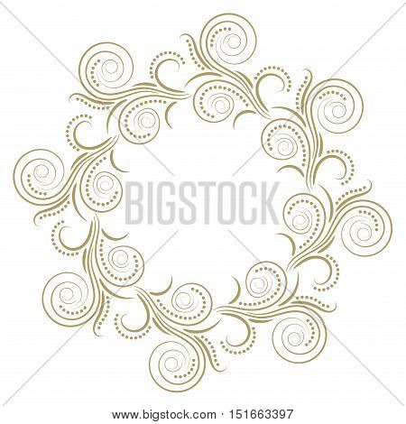 Abstract curly round gold frame isolated on white background. Vector illustration.