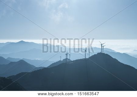 inland wind farm on the top of jiugong mountain hubei provinceChina