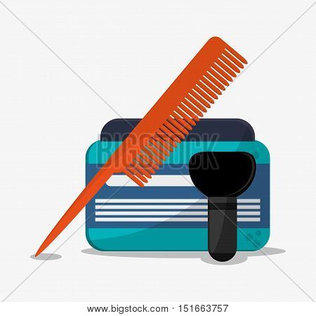 Comb brush and cream bottle icon. Hair salon and barber shop tools theme. Colorful design. Vector illustration