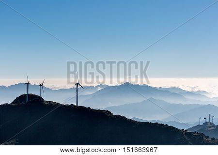 inland wind farm on jiugong mountain hubei provinceChina