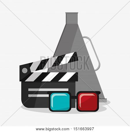 Clapboard 3d glasses and megaphone icon. Cinema movie video film and entertainment theme. Colorful design. Vector illustration