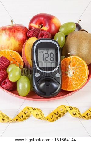 Glucometer, Fresh Fruits On Plate And Centimeter, Diabetes And Healthy Nutrition