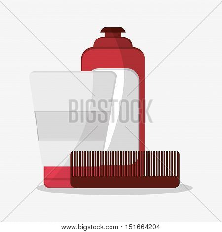 Comb and cream bottle icon. Hair salon and barber shop tools theme. Colorful design. Vector illustration