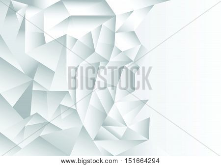 polygon pattern abstract background, white and grey theme, vector, illustration, copy space for text on the right side