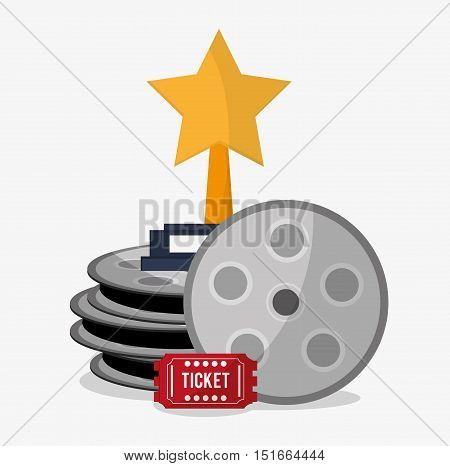 Film reel and ticket icon. Cinema movie video film and entertainment theme. Colorful design. Vector illustration