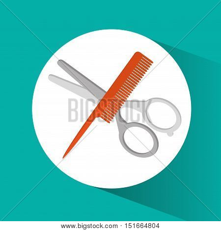 Scissor and comb icon. Hair salon and barber shop tools theme. Colorful design. Vector illustration