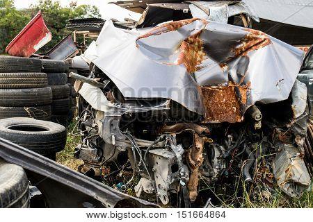 a photo of detail of destroyed car