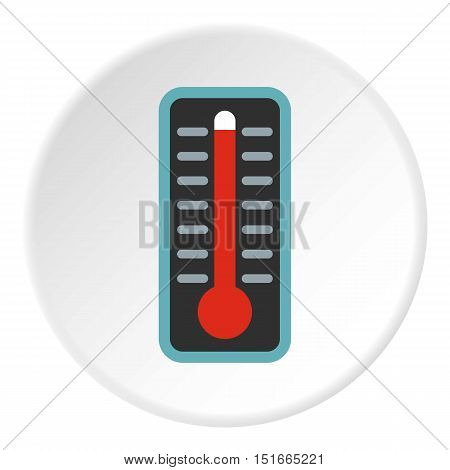 Thermometer with high temperature icon. Flat illustration of thermometer with high temperature vector icon for web