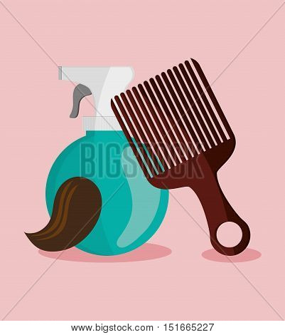 Splash and comb icon. Hair salon and barber shop tools theme. Colorful design. Vector illustration