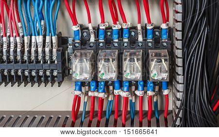 Wiring -- Control panel with wires industrial factory