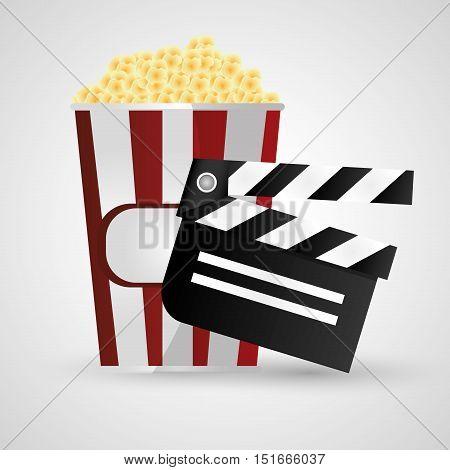Clapboard and pop corn icon. Cinema movie video film and entertainment theme. Colorful design. Vector illustration