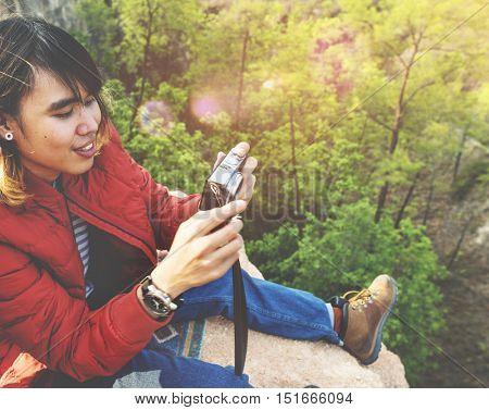 Photographer Camera Man Shooting Woods Nature Cliff Edge Concept