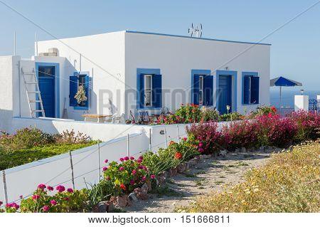 Architecture of greek house on Santorini island Greece