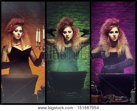 Different photos of young and beautiful witch making witchcraft in dungeon (Halloween collection)