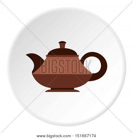 Coffee kettle with big handle icon. Flat illustration of coffee kettle with big handle vector icon for web
