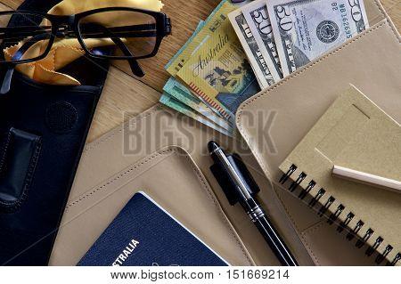 Organising travel planner in preparation of an overseas trip.