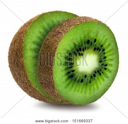 Green fuzzy kiwifruit, half and slice, isolated over white