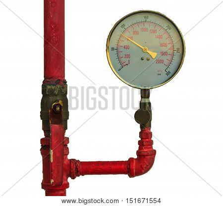 pressure gauge in the pipeline,on white background.