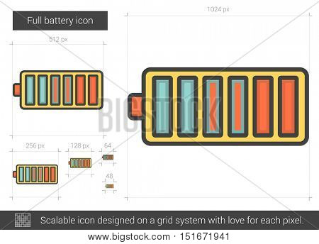 Full battery vector line icon isolated on white background. Full battery line icon for infographic, website or app. Scalable icon designed on a grid system.