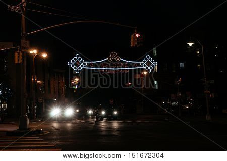 New York USA - September 22 2015: Illuminated sign