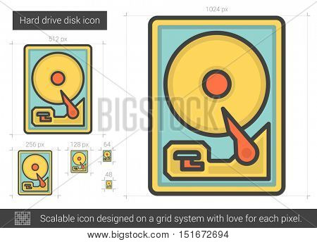 Hard drive disk vector line icon isolated on white background. Hard drive disk line icon for infographic, website or app. Scalable icon designed on a grid system.