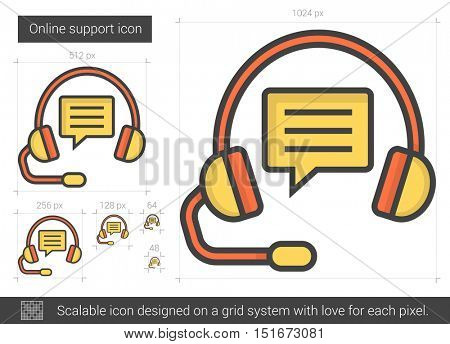 Online support vector line icon isolated on white background. Online support line icon for infographic, website or app. Scalable icon designed on a grid system.
