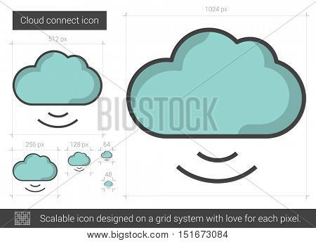 Cloud connect vector line icon isolated on white background. Cloud connect line icon for infographic, website or app. Scalable icon designed on a grid system.