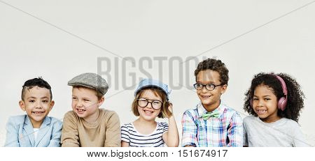 Sitting Kids Playing Looking Concept