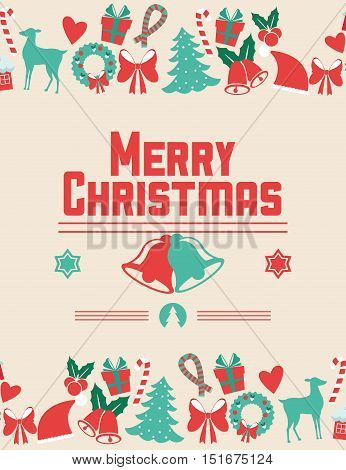 Bells and icon set. Merry Christmas season celebration and decoration theme. Colorful design. Vector illustration