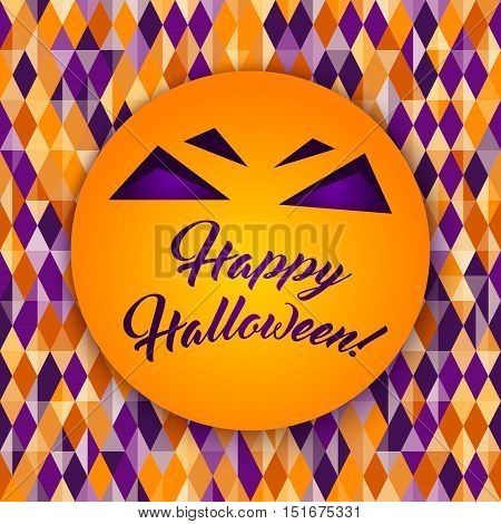 Happy Halloween greeting card Abstract geometric pattern diamond shapes. Traditional colors for Halloween background yellow orange purple. Halloween vector background. Seamless Halloween pattern.