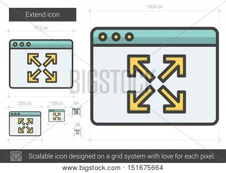 Extend vector line icon isolated on white background. Extend line icon for infographic, website or app. Scalable icon designed on a grid system.