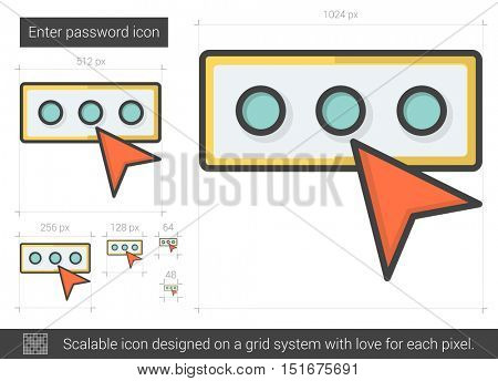 Enter password vector line icon isolated on white background. Enter password line icon for infographic, website or app. Scalable icon designed on a grid system.