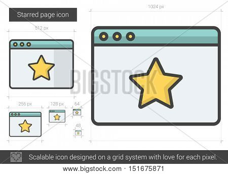 Starred page vector line icon isolated on white background. Starred page line icon for infographic, website or app. Scalable icon designed on a grid system.