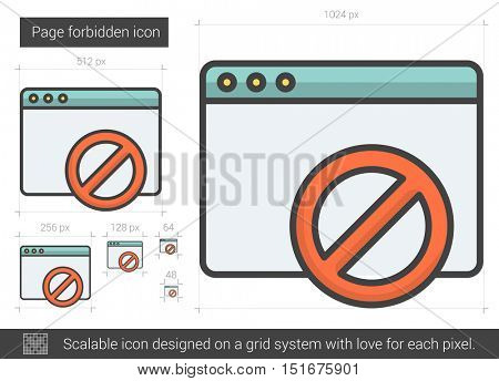 Page forbidden vector line icon isolated on white background. Page forbidden line icon for infographic, website or app. Scalable icon designed on a grid system.