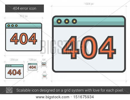 404 error vector line icon isolated on white background. 404 error line icon for infographic, website or app. Scalable icon designed on a grid system.