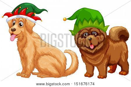 Dogs wearing jester hat illustration