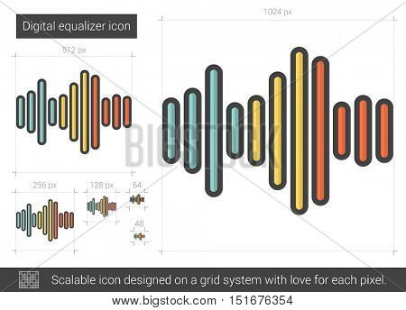 Digital equalizer vector line icon isolated on white background. Digital equalizer line icon for infographic, website or app. Scalable icon designed on a grid system.