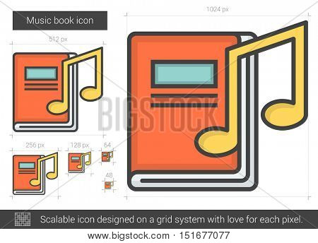 Music book vector line icon isolated on white background. Music book line icon for infographic, website or app. Scalable icon designed on a grid system.