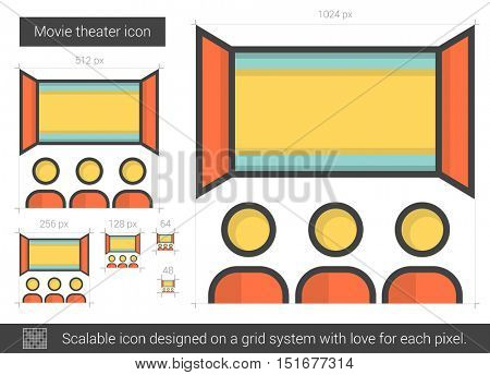 Movie theater vector line icon isolated on white background. Movie theater line icon for infographic, website or app. Scalable icon designed on a grid system.