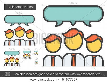 Collaboration vector line icon isolated on white background. Collaboration line icon for infographic, website or app. Scalable icon designed on a grid system.