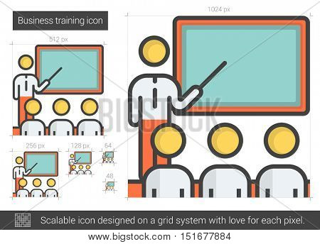 Business training vector line icon isolated on white background. Business training line icon for infographic, website or app. Scalable icon designed on a grid system.