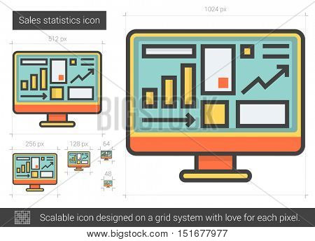 Sales statistics vector line icon isolated on white background. Sales statistics line icon for infographic, website or app. Scalable icon designed on a grid system.