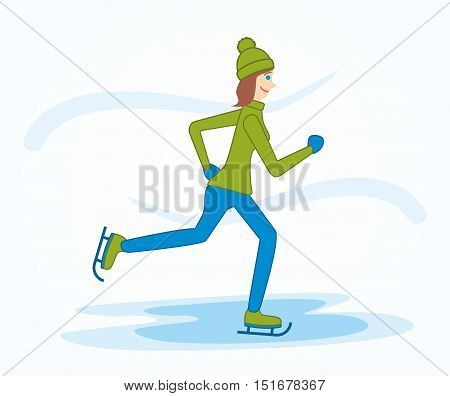 Vector Illustration Of A Girl On Skates. Woman Rides On The Ice At The Skating Rink