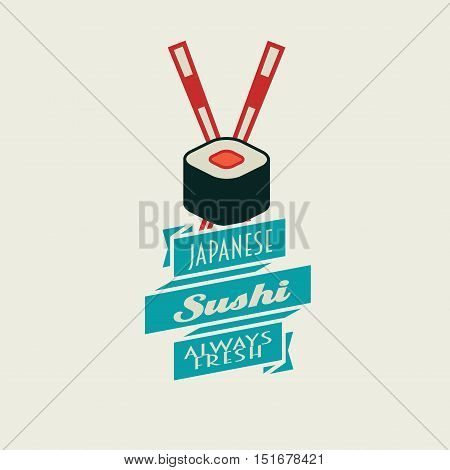 Sushi Vector Logo, Label Or Badge Design Template With Rolls And Two Chopsticks