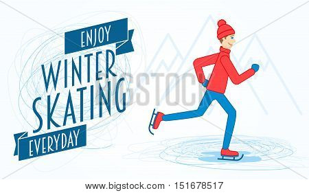 Flyer Or Poster Template With An Illustration Of A Man On Ice Skates