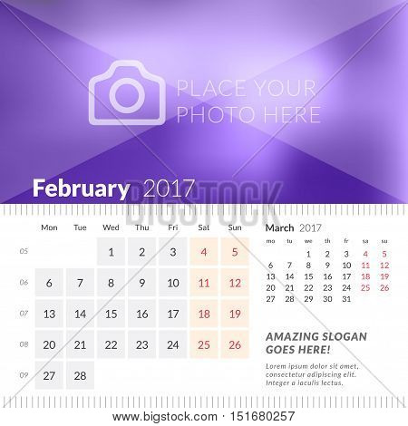 February 2017. Desk Calendar For 2017 Year. Week Starts Monday. 2 Months On Page. Vector Design Prin