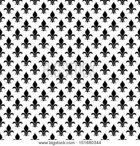 Vector fleur de lis seamless pattern monochrome background illustration flat