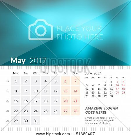 May 2017. Desk Calendar For 2017 Year. Week Starts Monday. 2 Months On Page. Vector Design Print Tem