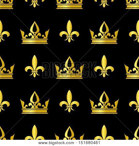 Golden crowns and fleur de lis vector seamless pattern. Queen vintage background illustration